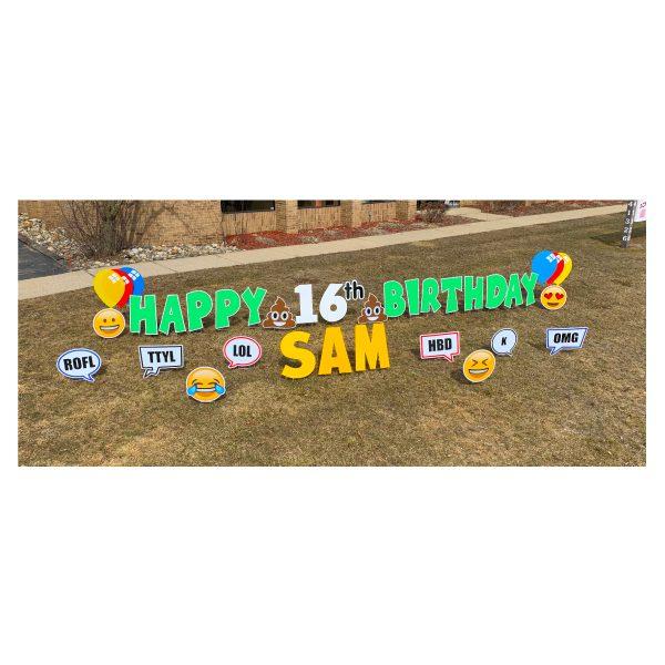 texting green yard greetings yard cards lawn signs happy birthday party rentals michigan