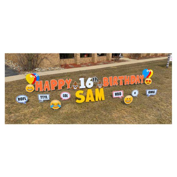 texting orange yard greetings yard cards lawn signs happy birthday party rentals michigan