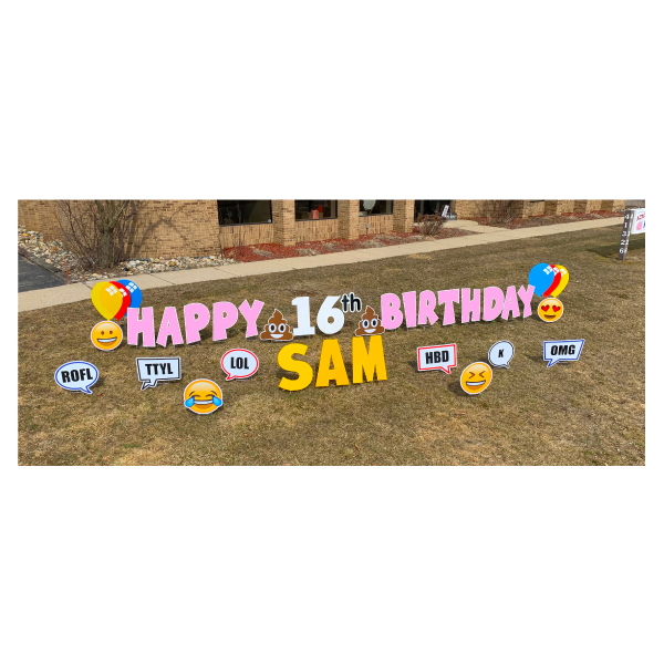 texting pink yard greetings yard cards lawn signs happy birthday party rentals michigan