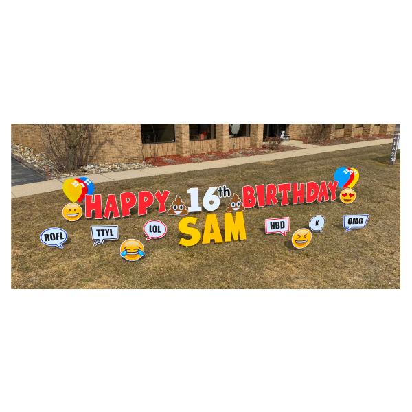 texting red yard greetings yard cards lawn signs happy birthday party rentals michigan