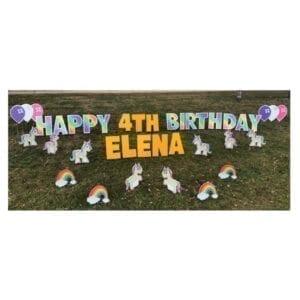 unicorn yard greetings yard cards lawn signs happy birthday party rentals michigan