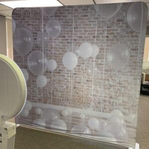 white balloons backdrop social media booth rental michigan