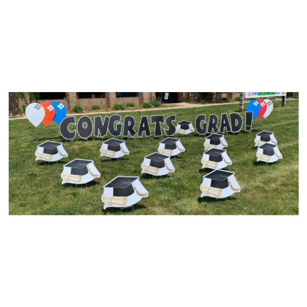 graduation caps yard greetings yard cards lawn signs happy birthday party rentals michigan
